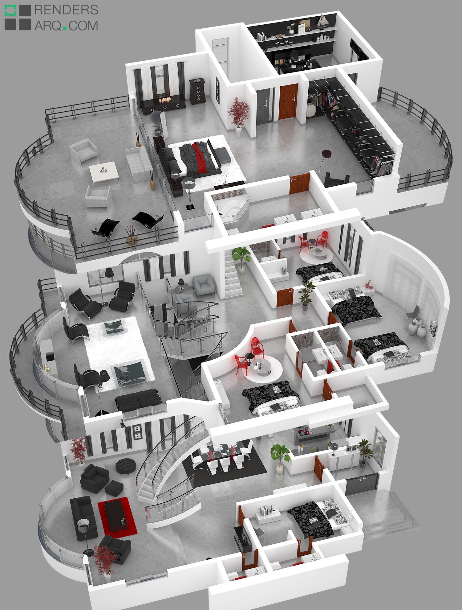 Plantas 3d uganda renders arquitectura for Plantas de oficinas arquitectura